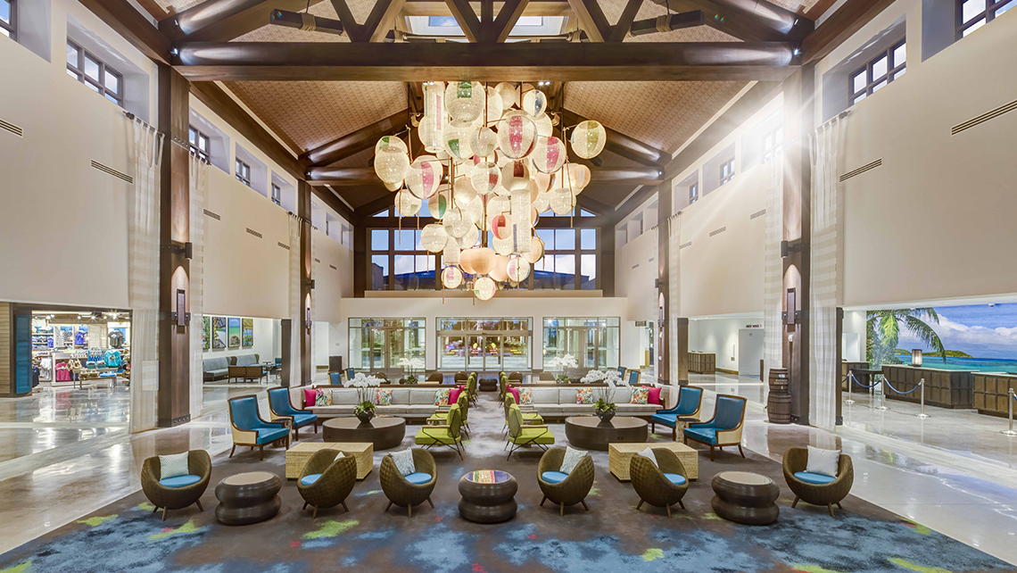 The lobby of the Loews Sapphire Falls Resort features bright pops of color.