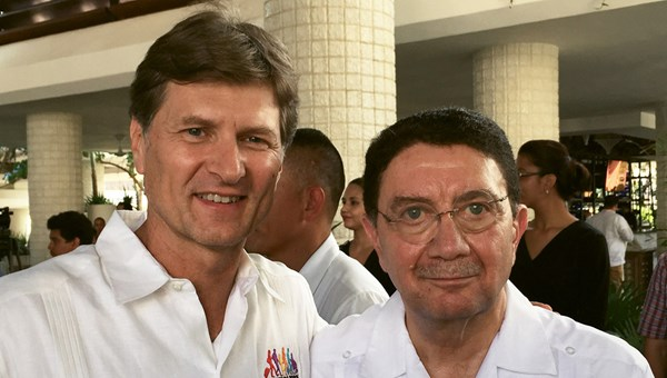 Mexico tourism secretary Enrique de la Madrid and United Nations World Tourism Organization secretary general Taleb Rifai at a lunch held in Rifai's honor during the Tianguis Turistico trade show.