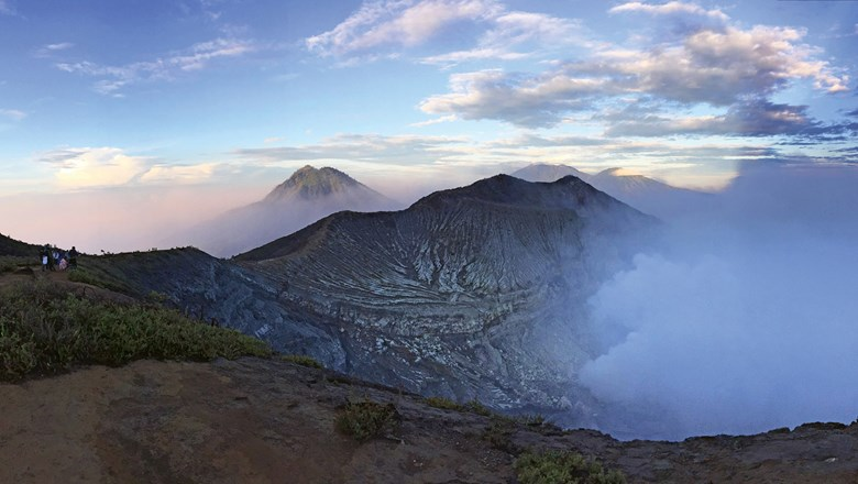 The blue glow from Java's Ijen volcano is caused by the flames emitted by burning sulphur deposits.