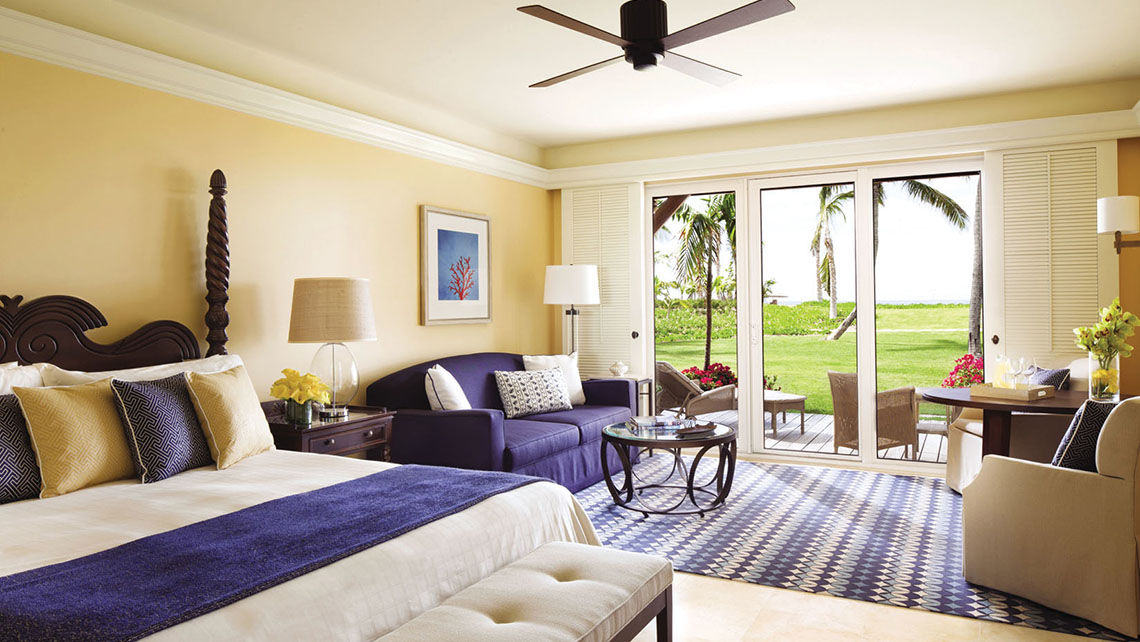 An oceanside guestroom at the Four Seasons Nevis. With 196 rooms and 50 villas, it's the island's largest resort.
