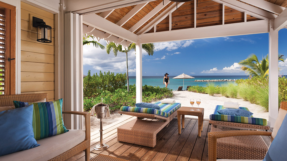 Four beachfront cabanas at the Four Seasons include WiFi and waiter service.