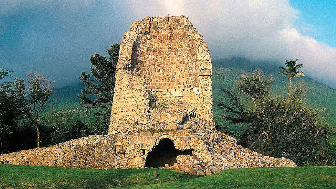 Ruins of sugar mills dot the landscape on Nevis.