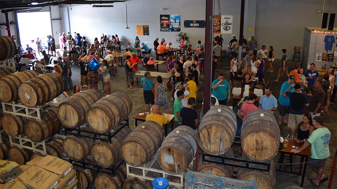 The Taproom at Due South Brewing, a craft brewery in Boynton Beach.