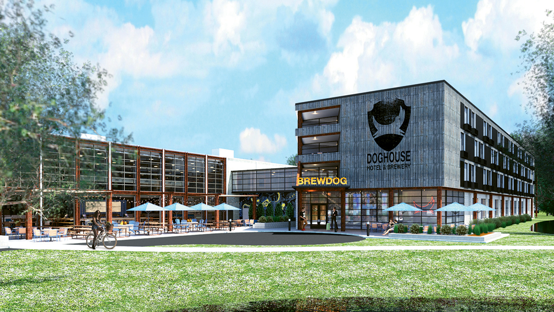 A rendering of the hotel and sour beer facility in Columbus, Ohio, that Scottish craft brewery BrewDog is crowdfunding, to be called the DogHouse.