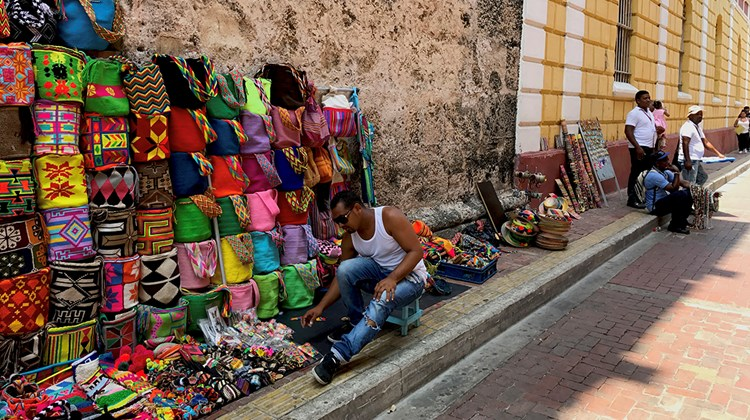 Vendors in Cartagena's famed Old City, which was built by the Spanish in the early 1500s to protect the port from pirates and other hostilities.
