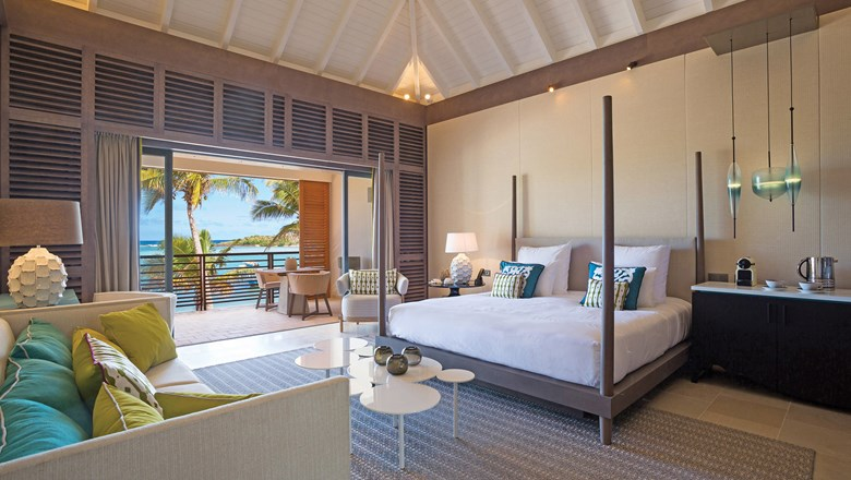 A guestroom at Le Barthelemy Hotel & Spa on St. Barts.