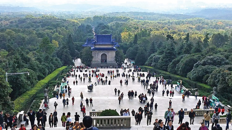 The view from the top of the 392 steps to the mausoleum of Dr. Sun Yat-sen in Nanjing.