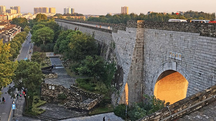 The Nanjing City Wall was built in the 14th century by the founder of the Ming Dynasty. Originally almost 22 miles long, one of the longest city walls in the world, today there are about 15 miles of the wall left and six sections open to the public.