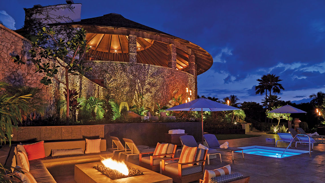 The pool area at Maui's Hotel Wailea features complimentary cabanas, sun loungers and a fire pit.