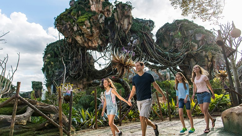 Pandora: The World of Avatar is an immersive alien world of floating mountains, cascading waterfalls and a bioluminescent rainforest.