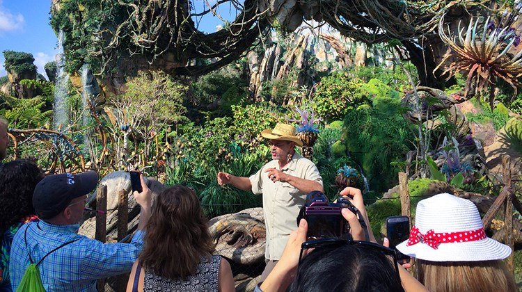 One of the lead imagineers who created Pandora, Joe Rohde, introduces media to Disney's newest land.