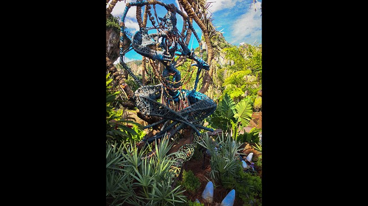 There are no signs in Pandora, only totems such as this shaman to indicate the way to the Na'vi River Journey attraction.