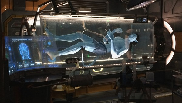 An avatar in an amniotic pod is one of the experiments in the scientists' lab on the approach to Avatar Flight of Passage.