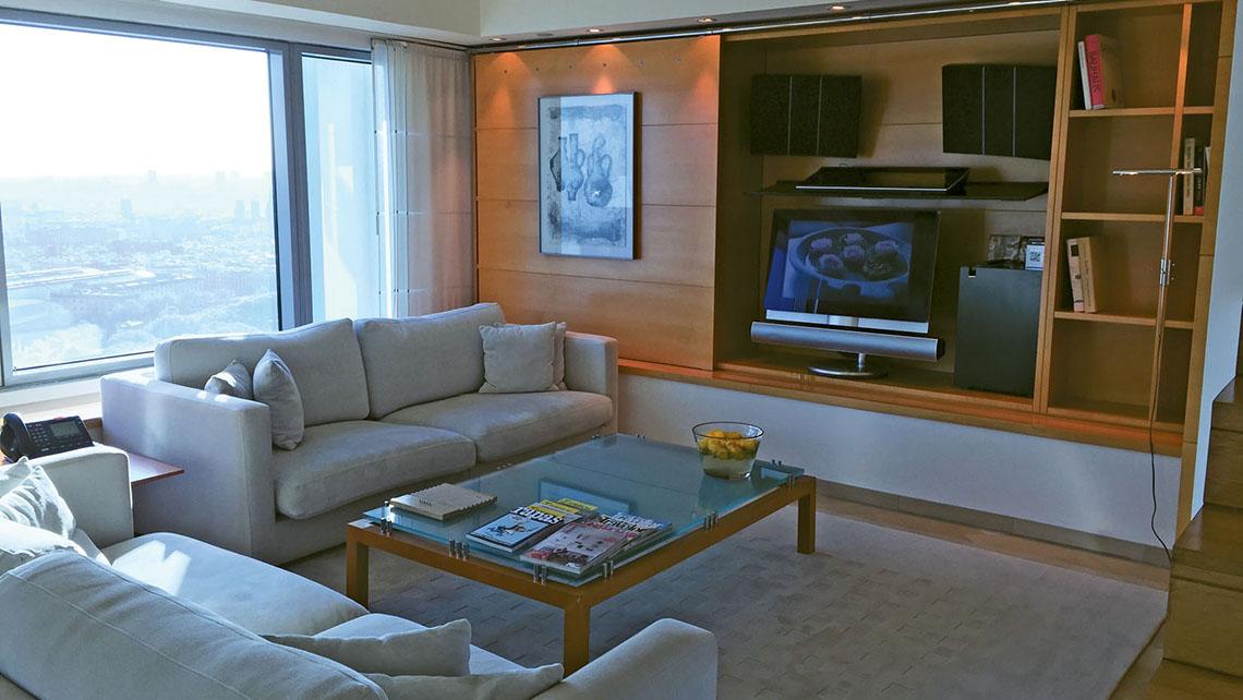 A duplex Penthouse suite at the Hotel Arts Barcelona.