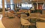 Seabourn Square, a living room-style space that replaced the conventional reception area, is larger on the Encore compared with previous Seabourn ships.