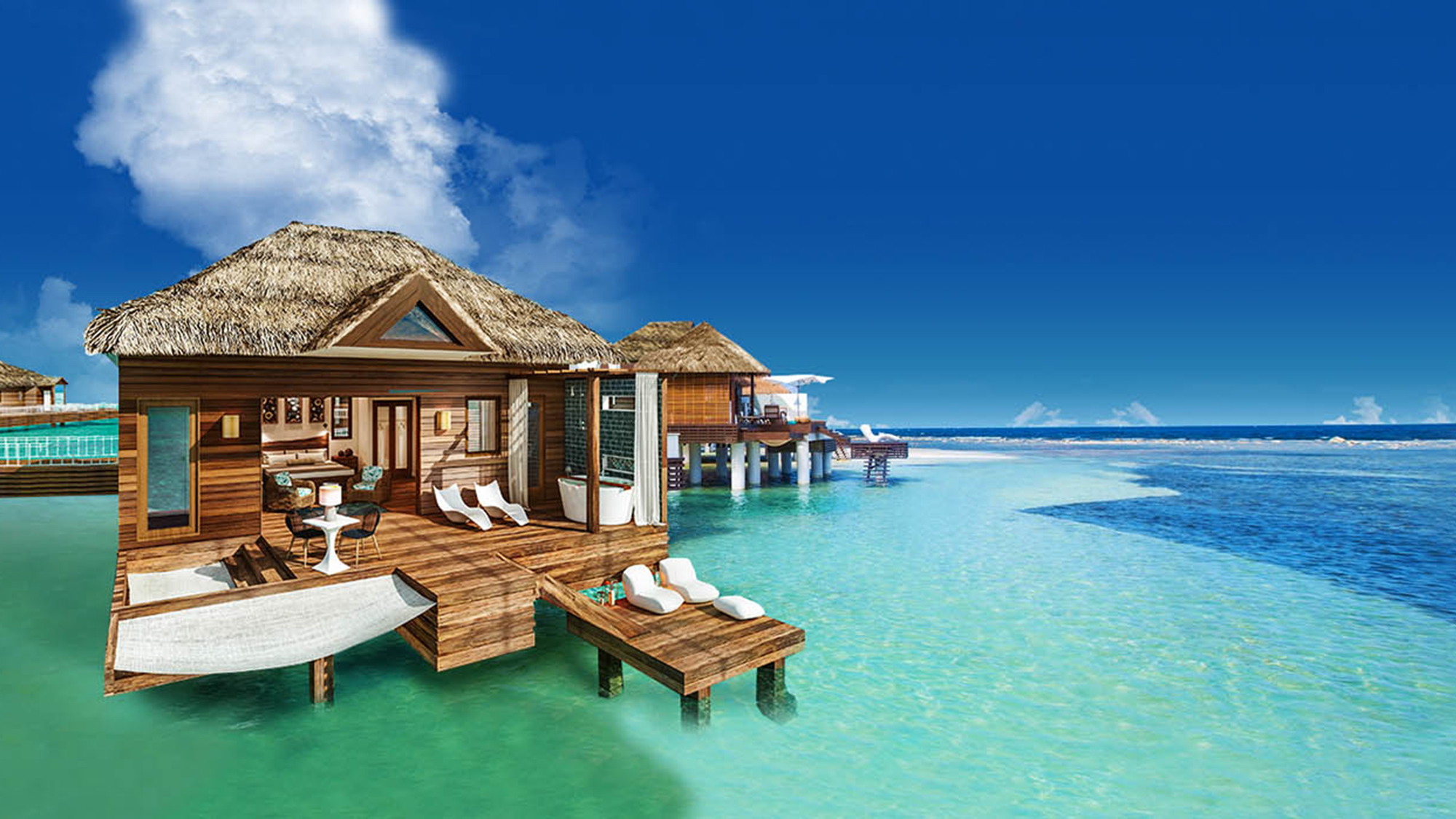 Rendering Of An Overwater Bungalow At Sandals South Coast In Jamaica.