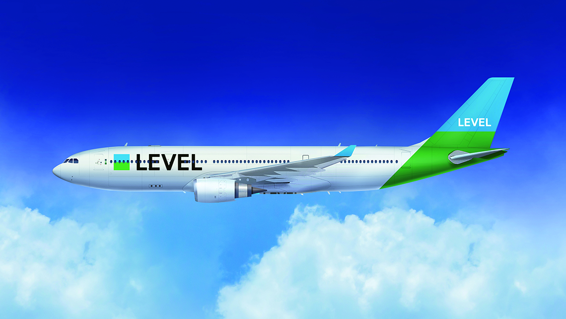 A rendering of a Level airplane, a new low-cost carrier run by the International Airlines Group. Level will begin offering flights between Barcelona and California in June.