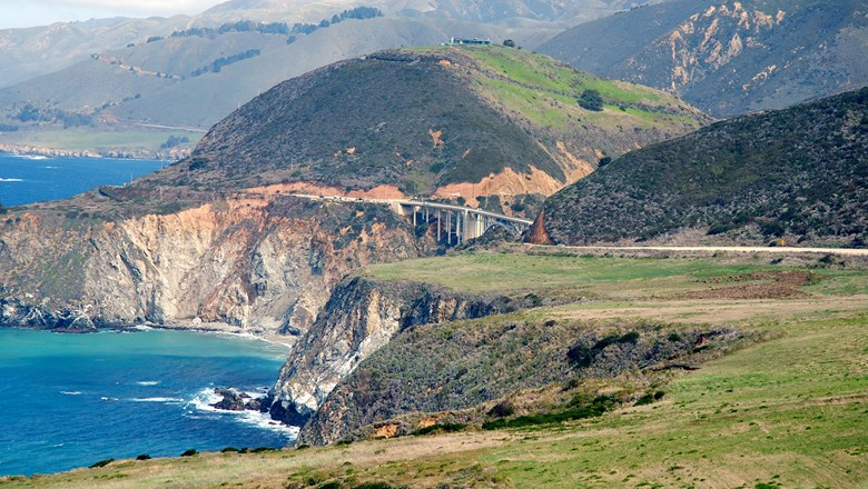 This portion of Highway 1 at Big Sur, with the Bixby Creek Bridge in the background, remains open.