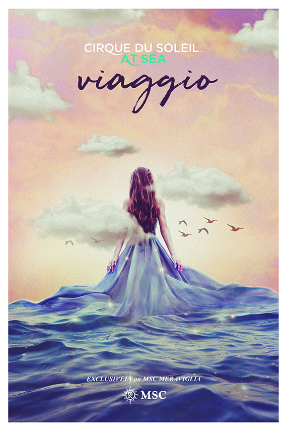 "A poster for the Cirque du Soleil show ""Viaggio."""