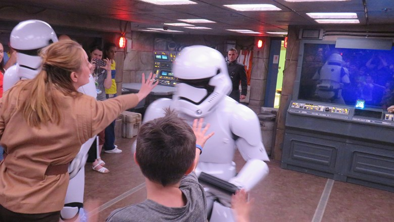 Kids learn how to use The Force to battle Stormtroopers in the Star Wars Command Post.