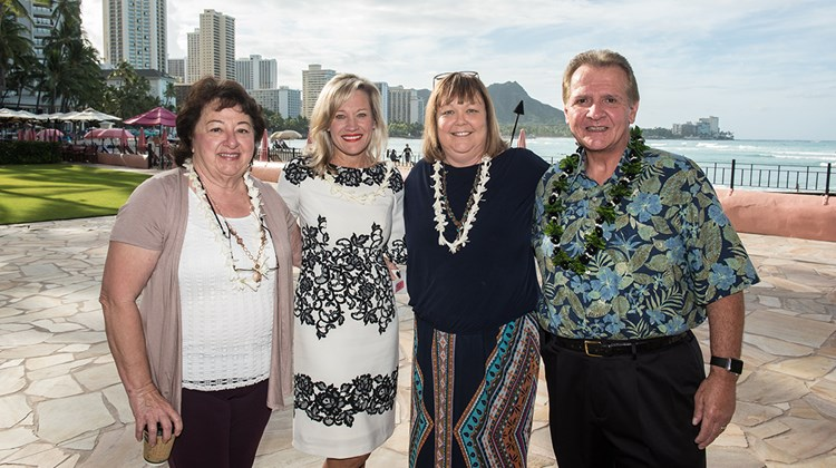 Forum speakers (left to right) Connie Risse, owner, Ships & Trips Travel; Robyn Basso, senior director of travel industry partnerships for Hawaii Tourism United States; Lisa Fletcher, owner, Signature Escapes; and Jack Richards, CEO of Pleasant Holidays.