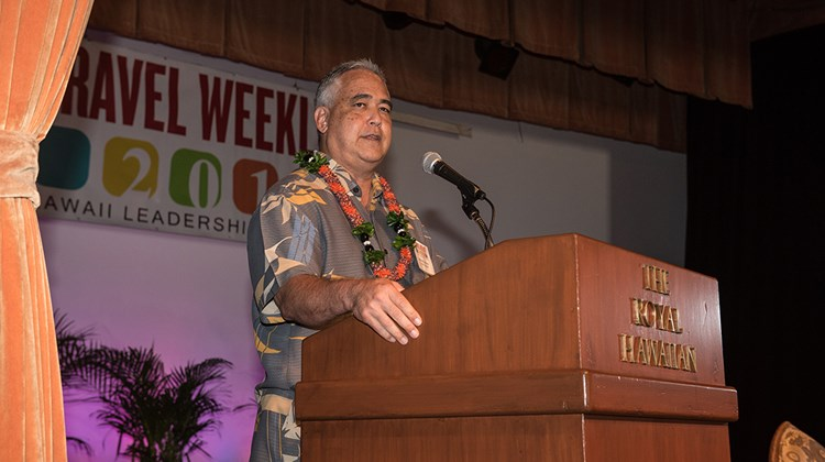 Mike McCartney, chief of staff to governor David Ige, brought greetings from the governor and a tourism update to attendees.
