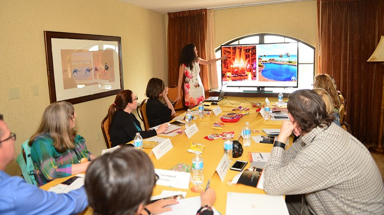 Sarah Perez of Melia Hotels International presents to a small group of agents during one of GTM West&#39;s signature Boardroom sessions.<br /><br /><strong>Photo Credit: Jim Harris</strong>