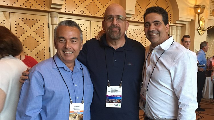 From left: Wayne Peyreau of MSC Cruises, Robert Papkin of Bob&#39;s Ultimate Travel and Joe Jiffo of MSC Cruises at GTM West&#39;s welcome reception.<br /><br /><strong>Photo Credit: Emma Weissmann</strong>