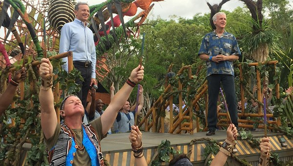 "Bob Iger, left, chairman and CEO of the Walt Disney Co., and ""Avatar"" director James Cameron onstage at the dedication of Pandora in Walt Disney World's Animal Kingdom."