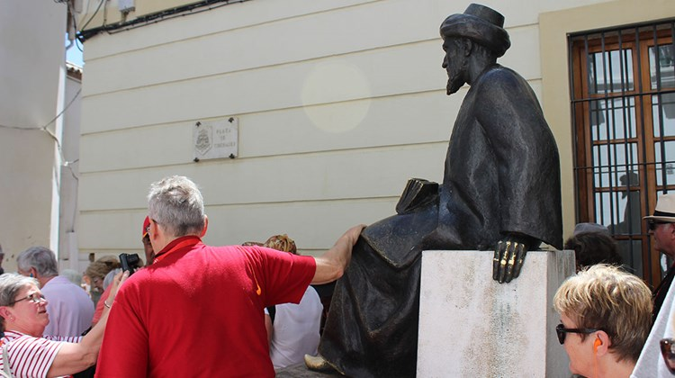 The statue of medieval Torah scholar Ben Maimonides in his birthplace of Cordoba. Visitors touch the statue's feet for good luck.