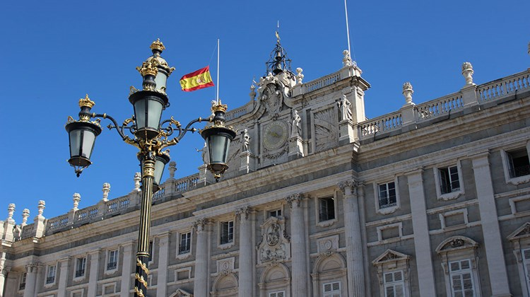 Outside the Royal Palace in Madrid.