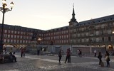Madrid's Plaza Mayor at dusk.