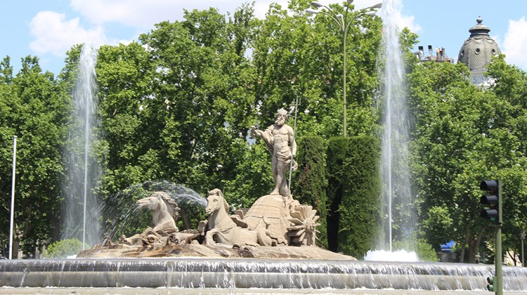 The Fountain of Neptune in Madrid. Completed in 1784, it was moved to its current location in 1898.