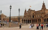 The Plaza de Espana in Seville, built for the Ibero-American Exposition of 1929.