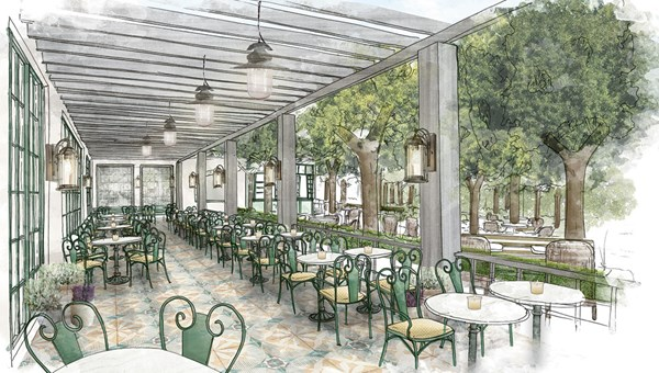 A rendering of the Primrose Terrace at the ParkMGM, scheduled to open in 2018, one of two hotels that will reinvent the Monte Carlo location. The Park MGM brand is being developed specifically with an eye toward expanding into markets outside Las Vegas.