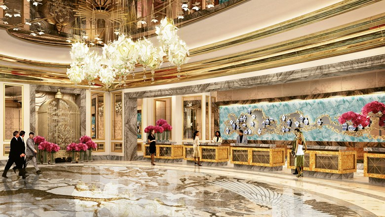 A rendering of the lobby of the Lisboa Palace Hotel, scheduled to open early next year.