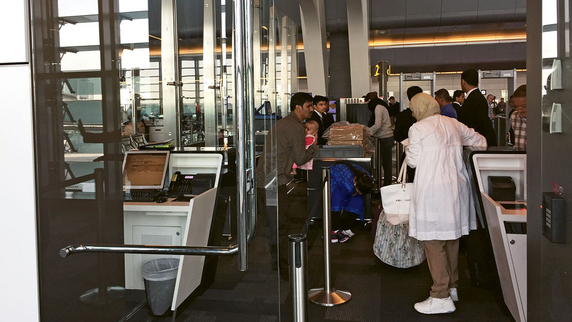 The security check-in at the Doha airport. Photo Credit: TW photo by Eric Moya