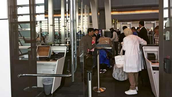 The security check-in at the Doha airport.