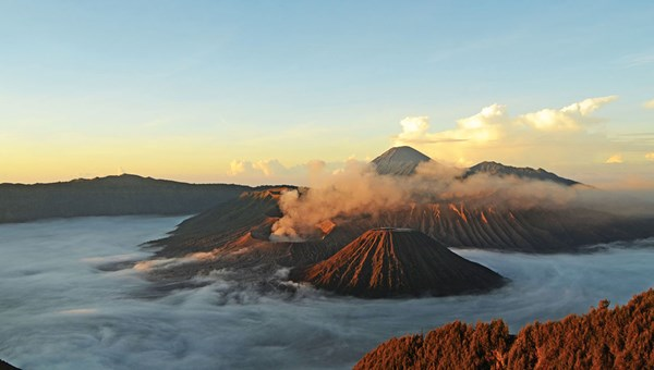 Mount Bromo, a volcano that still billows smoke and soot.