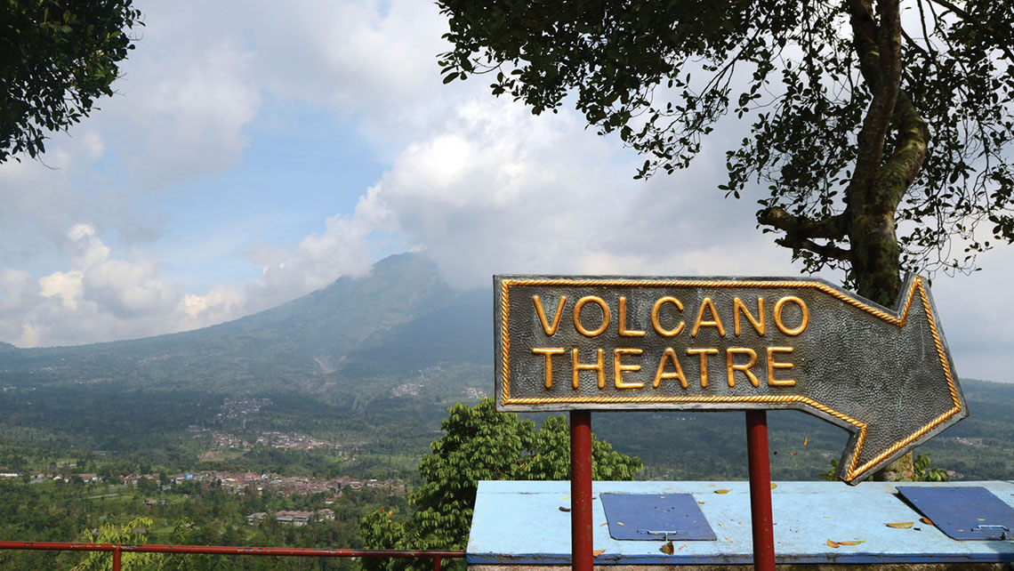 The screening room at Mount Merapi presents a documentary about the volcano's last eruption, which killed 353 in 2010. Photo Credit: Rob Garratt