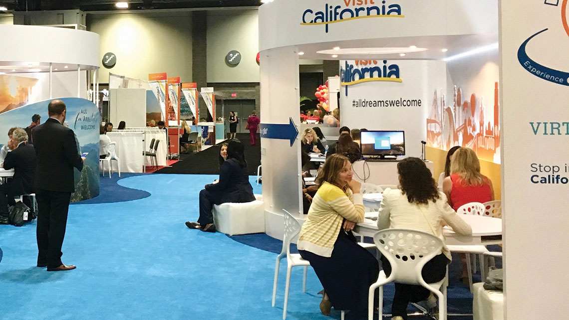 The Visit California booth at IPW 2017. Photo Credit: Johanna Jainchilll