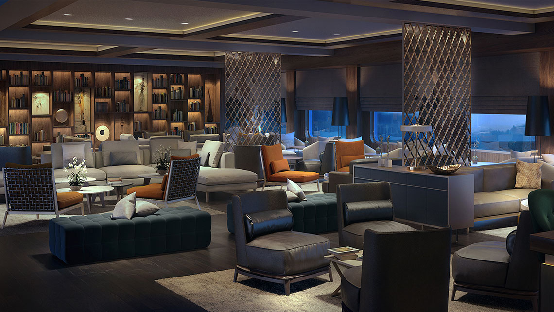 A rendering of the Living Room on a Ritz-Carlton yacht.
