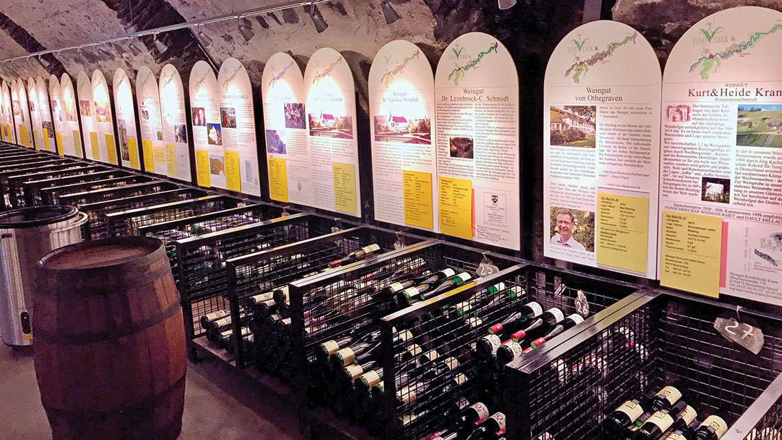 Local wines are available for tastings at the Wine Cultural Center cellars in Bernkastel-Kues, Germany. Photo Credit: Joe Rosen
