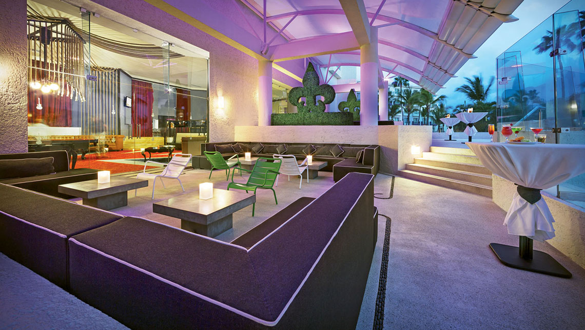 The Hard Rock Hotel Vallarta's Eclipse Terrace, offering bay views and serving drinks till 1 a.m.