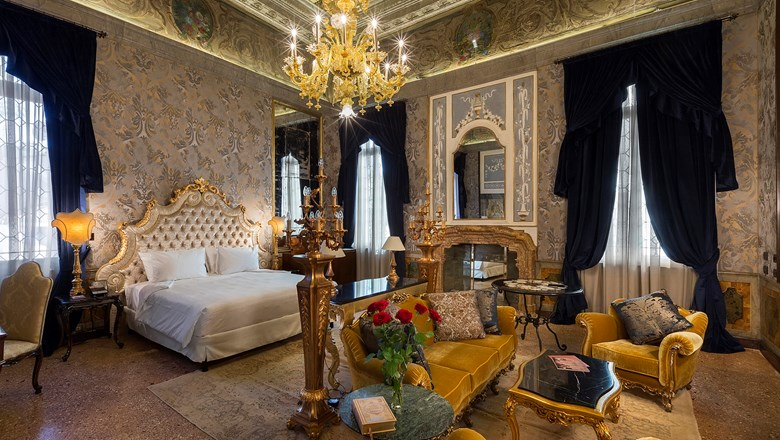 A guestroom at the Palazzo Venart Luxury Hotel.