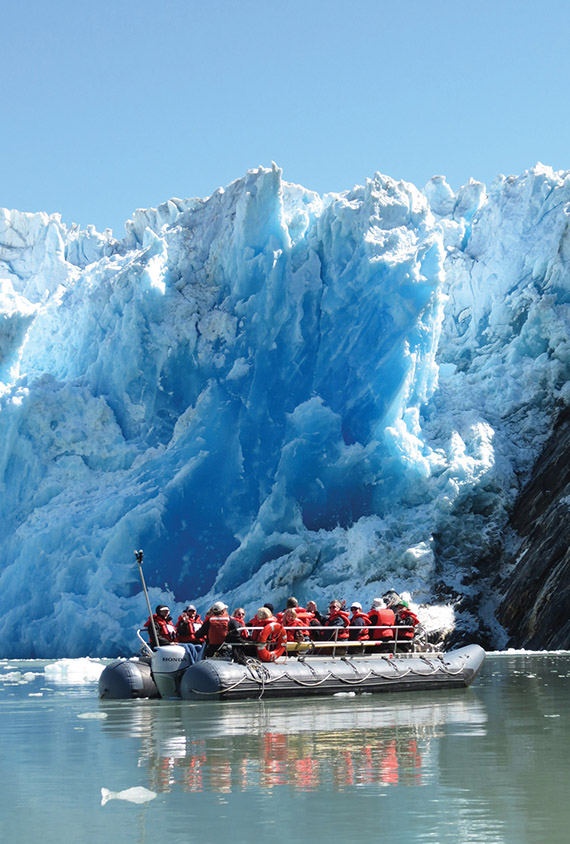 Small boats take passengers close to the face of glaciers. The cruise line is designed for travelers who want to experience Native cultures, explore the wilderness and see the wildlife.