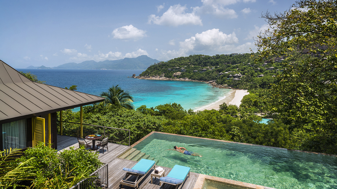 "Guests on the ""World of Discovery"" tour will stay at the Four Seasons Resort Seychelles."