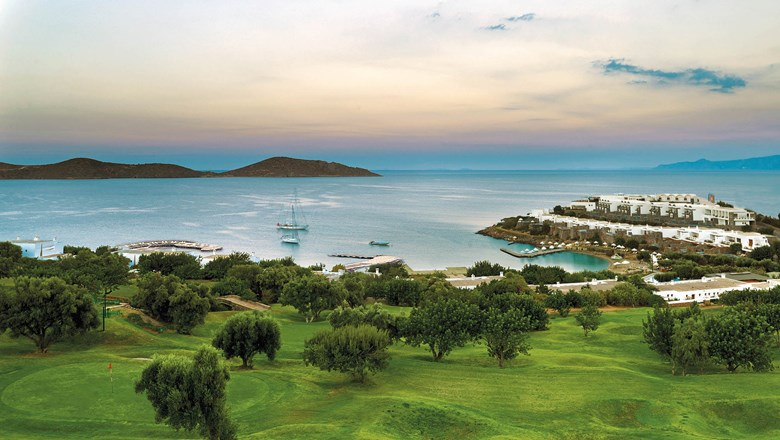 In addition to the on-property Six Senses Spa, Porto Elounda in Crete overlooks Mirabello Bay and features a private golf course and soccer camp.