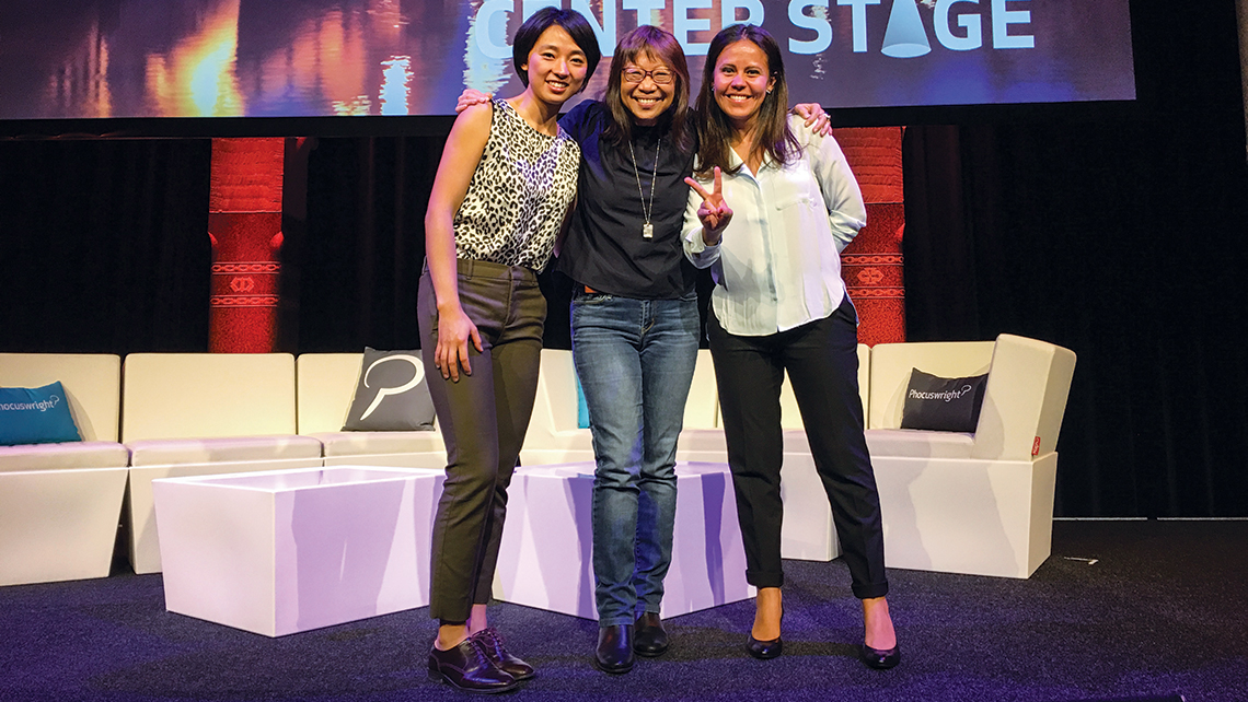 The author, center, with Alex Shen of GetYourGuide and Blanca Menchaca, the co-founder of BeMyGuest.