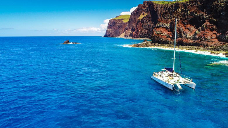 The Lanai, a new 50-foot sailing catamaran owned by the Four Seasons Resort Lanai, is used for snorkeling, diving, whale-watching and other tours.